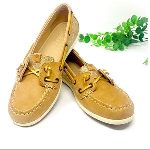 Sperry boat shoes Coil Ivy Linen gold 6